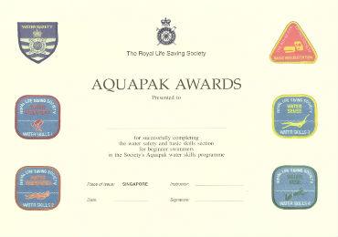 aquapak 1 award certificate