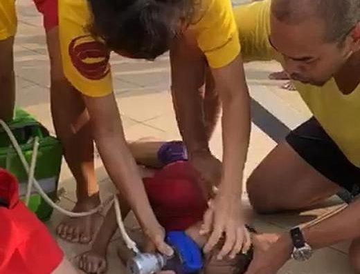 lifeguard rescue in swimming pool